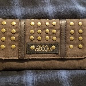 Brown studded volcom wallet
